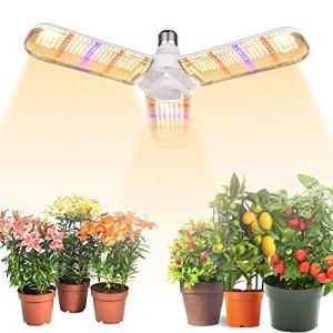 Cultiver la lampe 180 LED Full Spectrum Plante E27 En poussant la lumière avec trois lames de pliage pour les plantes d'intérieur, des légumes, de serre, hydroponique, Cultiver Tente