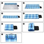 Detex Plaid – Couverture de Pique-Nique Pliable avec poignée – Pratique – Compacte – Imperméable – Thermo-Isolante – Bleu