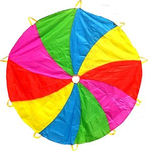 Edz Kidz 210T Fun Play Parachute Pattern Swirl avec 10 poignées. Tapis de Jeu idéal pour l'intérieur et l'extérieur et Couverture de Pique-Nique (1.8m)