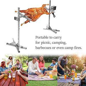 FACAIA Kit de rôtissoire électrique pour Barbecue, kit de rôtisserie Automatique en Acier Inoxydable 15W Fourchettes à Viande en Acier Inoxydable avec Moteur électrique, pour Barbecue de Camping
