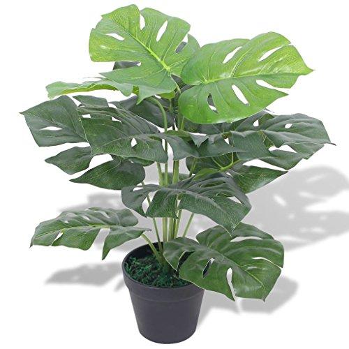 Festnight Plante Monstera Artificielle avec Pot 45 cm Vert Décor pour Maison