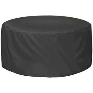 FUSHOUhousses meubles de jardin,table de patio ronde et housse de chaise Tissu Oxford étanche à l'humidité,Brouillard anti-sable/poussière, Facile à transporter,Noir,180x90cm