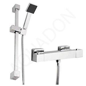 Générique-Barre de douche thermostatique carré Chrome Mitigeur et glissière de qualité