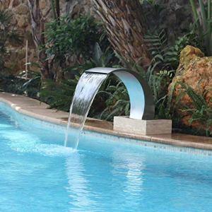 GonbObcxggr Fontaine de Piscine avec becs en Acier Inoxydable, Cascade de Bassin en Acier Inoxydable(900 * 500Mm)