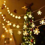 Guirlande lumineuse de flocon de neige,utilisée pour l'intérieur et l'extérieur,le jardin, les vacances,la décoration de Noël (3M,20LED blanc chaud)