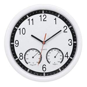 Haude Horloge murale silencieuse à quartz avec thermomètre précis pour intérieur, extérieur, piscine, terrasse