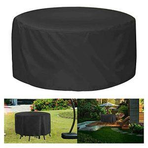 Housse de meuble de patio ronde, housse de chaise de table d'extérieur anti-UV imperméable, housses de chaise de table de jardin, grande housse robuste pour une protection contre les intempéries