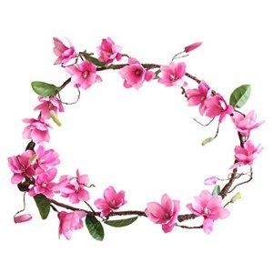 Hunpta Feuilles de faux Fleur artificielle Magnolia Vigne Floral Bouquet de mariage Home Decor rose vif