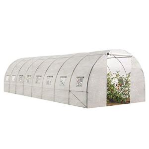 IDMarket – Grande Serre de Jardin Tunnel maraîchère Pro galvanisée 24m² 8x3x2m Blanche