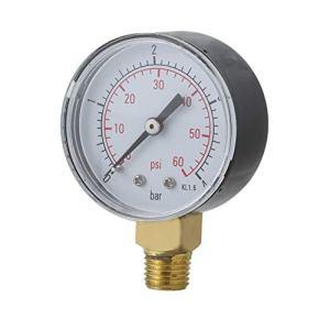 Jasnyfall Manomètre de pression d'eau pour filtre de spa de piscine pratique mini 0-60 psi 0-4 bar TS-50 noir