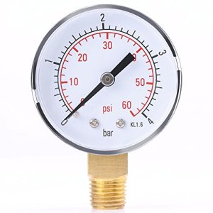 Jauge de Pression Hydraulique, Walfront Manomètre Testeur de Pression TS-50-4bar 0-4bar/0-60psi 1/4″ NPT pour l'Huile d'Air de Carburant ou l'Eau