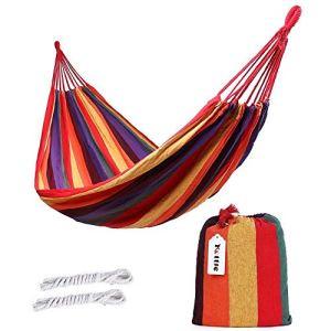 Kottle extérieur doux en coton tissu hamac brésilien Double largeur 2 personne voyage Camping hamac (Rouge)