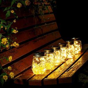 Lanterne de Verre Solaire Imperméable Lumière Solaire de Pot Acier Inoxydable Lanterne de Fée Jardin ornemental Bocaux en Verre pour Cérémonie de Noël Décorations de Noël