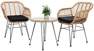 Lot de 2 chaises de jardin en rotin et rotin et table d'extérieur faits à la main avec 2 fauteuils + table supérieure en verre trempé (comprend 2 coussins).