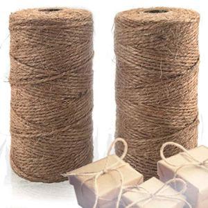 Lot de 2 ficelles de jute naturelle pour travaux manuels, emballages, jardinage et plus encore – 656 pieds de corde de jute 3 plis à utiliser autour de la maison et du jardin.