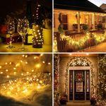 [Lot de 2] Guirlande Lumineuse Solaire, FOCHEA 12M 120 LED Guirlande Lumineuse LED Exterieur Étanche 8 Modes pour Décoration Jardin, Terrasse, Cour, Noël, Mariage, Fête