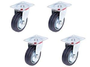 Lot de 4 Roulettes pivotantes sans frein (Set 125 mm TR-02d4) Roulette pivotante Armature en tôle acier galvanisée Roue Roulette pivotante à bandage caoutchouc noir Jantes à roulement à rouleaux Economique, silencieuse , non tachant