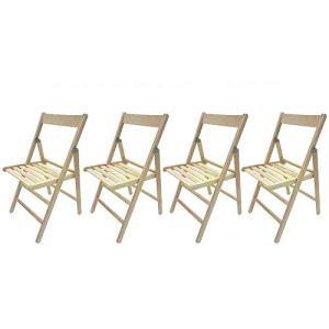 MW Italia – 4chaises pliantes confortables en bois de hêtre pour camping, maison, jardin – Couleur naturelle.