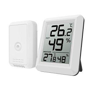 Oria Station Météo, Thermomètre Hygromètre Digital Intérieur et Etérieur, Fahrenheit Celsius Thermomètre avec Remote Sensor sans Fil, 60s Auto Refresh pour Maison, Bureau – Blanc