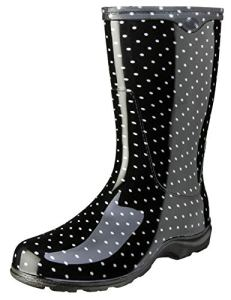 PRINCIPLE PLASTICS – Tall Boot, Black Polka Dot, Women's Size 7