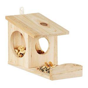 Relaxdays Mangeoire pour écureuil distributeur de nourriture animaux en bois à suspendre HxlxP: 17,5 x 12 x 25 cm, vert