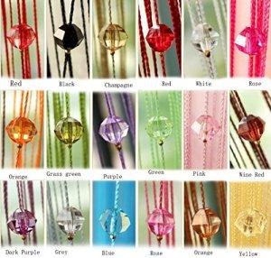 Rideau de perles de cristal Yiyida 1pièce – Pour porte et fenêtre – Cloison de pièces – 1m x 2m