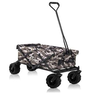 SAMAX Chariot à main de transport Chariot de Jardin Charrette à bras Remorque á main Pliante Offroad – Camouflage