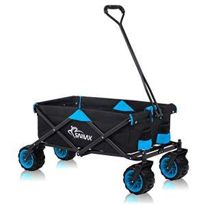 SAMAX Chariot à main de transport Chariot de Jardin Charrette à bras Remorque á main Pliante Offroad – Noir / Bleu