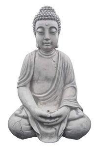 Superbe Bouddha en pierre massive/béton, résistant au gel, gris, 52 cm