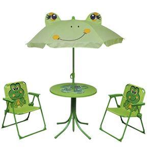Table et chaises de jardin pour enfants avec parasol, structure robuste en acier, meubles de jardin pour enfants, design grenouille