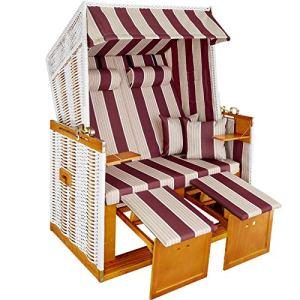 TecTake Chaise cabine de plage de luxe corbeille fauteuil chaise jardin blanc / rouge + housse de protection + 2 coussins