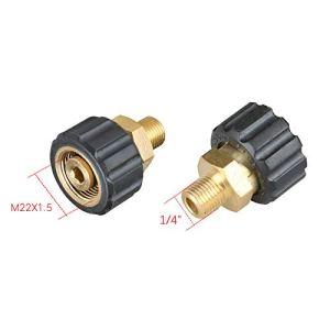 T&F Adaptateur pour nettoyeur haute pression M22 / 3/8″ / 1/4″ Pivotant vers raccord M22 1/4″ male to M22 female Noyau de prise 14 mm.