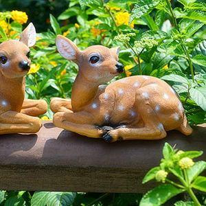 xianshi Modèle de cerf Sika en résine synthétique, Statue de cerf, Cour de Patio de Sculpture de Jardin pour la communauté de Jardins de Cour