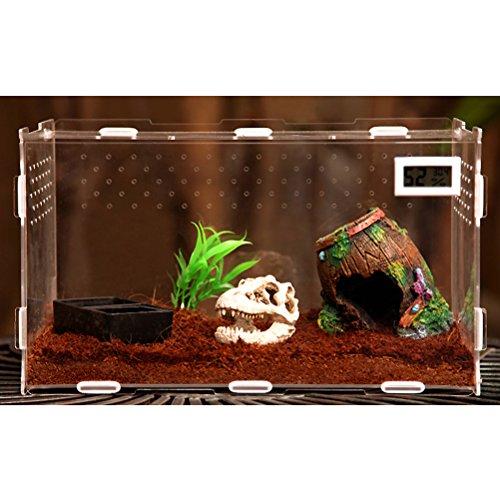 Zhhlinyuan haute qualité Durable Pets Spider Reptile Insect lizard Habitat Set Cage Set Feeding Breeding Box Temperature Display