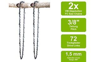 2 Chaînes à gouge carrée adaptable pour Poulan 445 | 50cm 3/8 72M 1,5mm