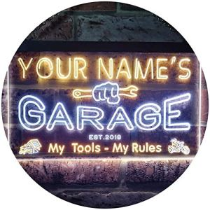 ADV PRO Personalized Your Name Est Year Theme Garage Man Cave Deco Dual Color LED Enseigne Lumineuse Neon Sign Blanc et Jaune 300 x 210mm st6s32-pp1-tm-wy