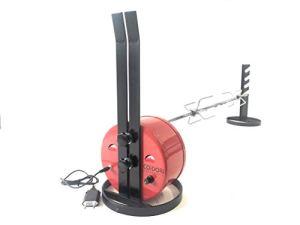 ALLEGRI Tournebroche COiDORi® Alimentation USB avec réglage de la vitesse' Rotation avec Broche en acier inoxydable de 95 cm de long et avec 2 fourches arrêt viande 4 aiguilles