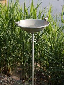 AmaCasa Abreuvoir pour oiseaux Bain oiseaux Bac de l'eau Abreuvoir Abreuvoir pour oiseaux Coque Fiche Gris fer