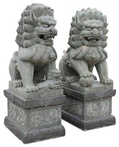 Asien Lifestyle Lion de temple en granit 225 cm