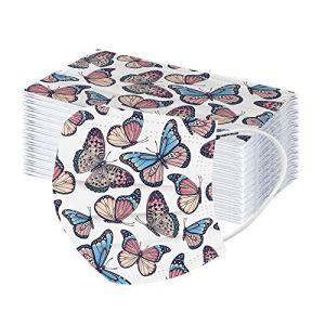 BDBD 2021 Adultes Mas-ques,Hommes Femmes 3 Couches Filtre Face Scarf Papillon Imprimé Coton,Lavable,Tissu Réutilisable Face Cover Protection pour Visage pour Camping Voyage