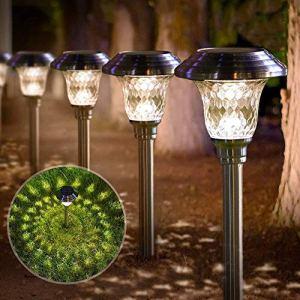BEAU JARDIN Lot de 4 Lampes solaires de Jardin eclairage Solaire lumière Blanche Chaude et Solaire Éclairage pour chemins allée allumage Villa pelouse