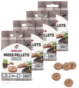 Biolan Lot de 48 pastilles de mousse sans tourbe pour germination des graines