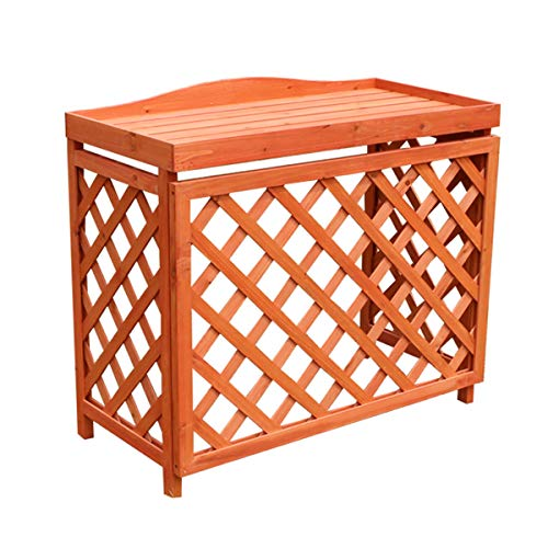 Cadre de climatiseur robuste, couvercle de climatiseur en bois massif, support de décoration d'étagère de support de fleur de plante extérieure, étagère anti-corrosion de 85 cm × 35 cm × 75 cm