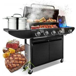 Campfire 4+1 Barbecue à gaz avec brûleur latéral et rangement pour jardin Noir