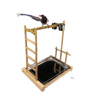 CuteLife Stand d'oiseaux Sauvages Oiseau Support Cadre en Bois Adapté for Les Perroquets Station de Parrot et Accessoires for Oiseaux (Couleur : Wood, Taille : 49x37x55cm)