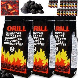 Deuba 21kg de Charbon de Bois pour BBQ – 7X Sac de 3kg Briquettes à Barbecue – Braises Longue durée – Grill Jardin Terrasse