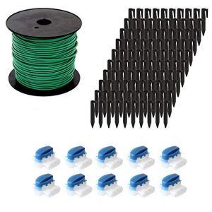 ECENCE Kit d'accessoires et de réparation pour robot-tondeuse, 50m câble périphérique + 10x Connecteur + 100x Crochet de terre, utilisation universelle pour tous les modèles