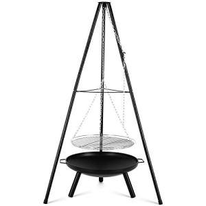 Femor Gril Pivotant, avec Brasero Extérieur Ø60cm avec Grille Ø52cm, Trépied Télescopique de 1,52 m et Chaîne Réglable en Hauteur (200 cm) pour Cuisinière Suspendue Domestique ou Camping en Plein air