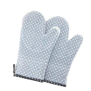Gants Grill en silicone et en coton | maniques gris | maniques unisexe | Accessoires de cuisson et accessoires pour barbecue