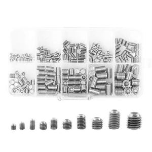 Gasea 200PCS Vis Hex Tête Allen Assortiment Kit 10 Types Vis Sans Tête Hexagonale Set M3 M4 M5 M6 M8 Vis à Six Pans Creux en Acier Inoxydable Kit Pour Magasin, Garage et Domestique Usage